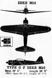 3-view drawing of A6M Zero