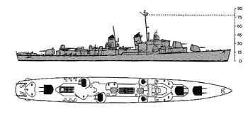 Schematic diagram of Allen M. Sumner class destroyer