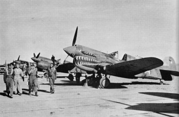 Photograph of the flight line at a Flying Tiger airfield