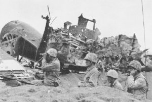 Forward artillery observers on Iwo Jima