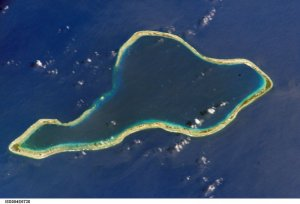 Satellite photograph of Moruroa Atoll