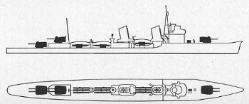 Schematic of Akatsuki-class destroyer