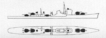 Schematic of Akizuki, Japanese destroyer