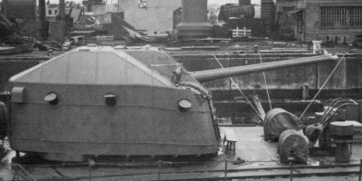 "Photograph of 3.9"" gun turret on Japanese destroyer"