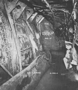 Holding bulkhead dished in by torpedo on USS Nevada