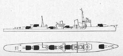 Schematic of Asashio-class                 destroyer