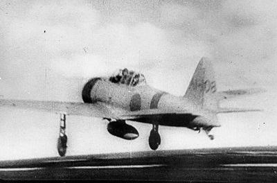 Photograph of A6M Zero launching for the Pearl Harbor         attack