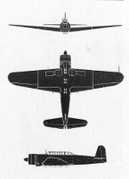 "Three-view diagram of B6N ""Jill"""