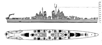 Schematic diagram of Baltimore class heavy cruiser