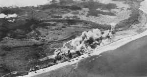 Photograph of Mokmer airfield under bombardment