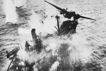 A-20 Havoc bombs a Japanese transport