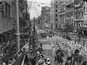 Photograph of American sailors parading in Brisbane