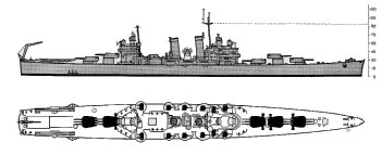 Schematic diagram of Brooklyn class light cruiser