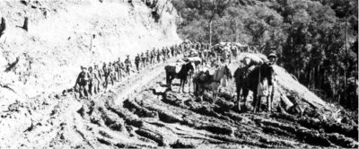 Photograph of Chinese troops advancing into northern Burma