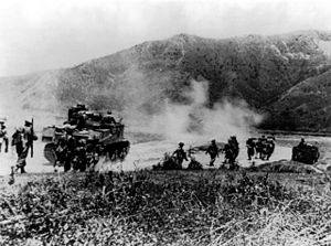 British and Indian troops advance along the Kohima Road