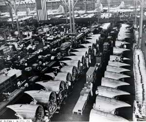 Factory floor producing B-29 Superfortresses