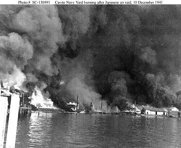 Photograph of Cavite burning after Japanese air raid