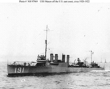Photograph of USS Mason, a Clemson-class destroyer