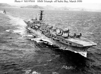 Photograph of Colossus-class carrier in postwar exercises