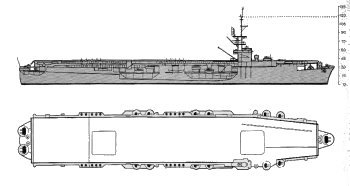 Schematic diagram of Commencement Bay class escort carrier