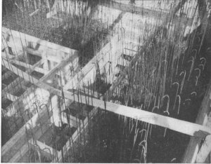 Photograph of forms and reinforcing rods ready for concrete to be poured