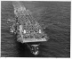 HIgh bow view of Casablanca-class escort carrier