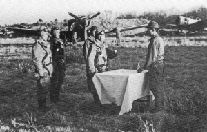 Photograph of reenactment of special attack departure ceremony at Chofu airfield