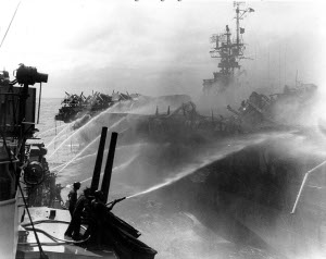 Photograph of damage control efforts on USS Princeton