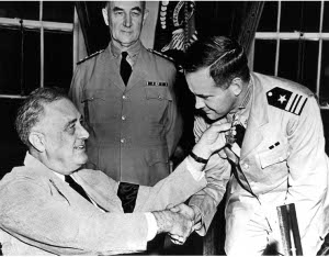 Photograph of Commander John D. Bulkeley being awarded the Medal of Honor