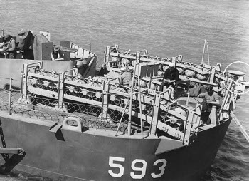 Photograph of depth charge racks on destroyer stern