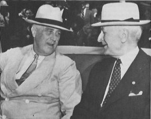 Photograph of FDR and Hull