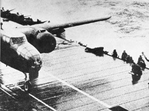 Photograph of takeoff of a Doolittle Raider