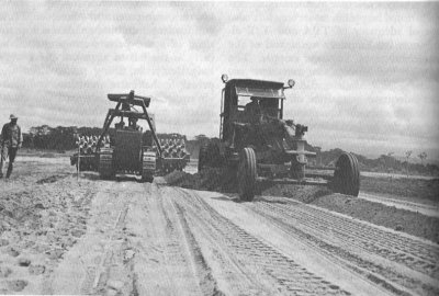 Photograph of engineers constructing a runway