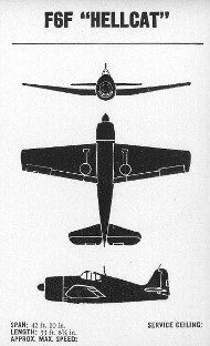 Three-view diagram of F6F Hellcat carrier                   fighter