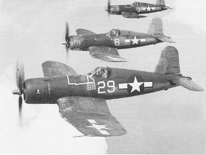 Photograph of F4U Corsairs in flight