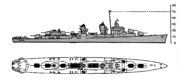 Schematic of Fletcher class destroyer