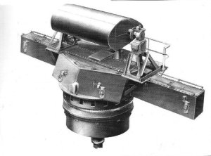 Artist's representation of Mark 38 director with                   radar