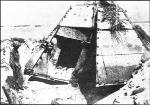 Photograph of Japanese steel pillbox on Tarawa