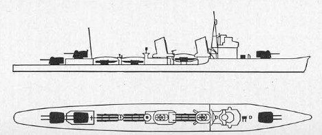 Schematic of Fubuki-class                 destroyer