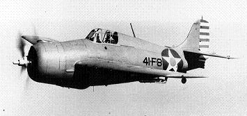 Aerial photograph of early model F4F Wildcat carrier fighter