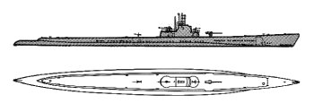 Schematic diagram of Gato-class submarine