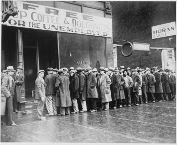 Photograph of unemployed men at charity