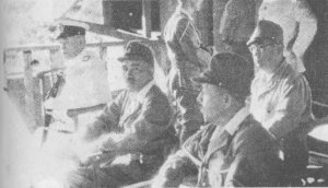 Yamamoto and other officers watch launching of I-Go