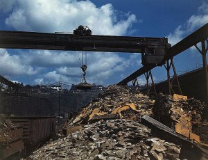 Photograph of scrap steel being processed