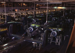 Photograph of assembly line at North American - Inglewood plant