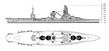 Schematic of battleship Ise