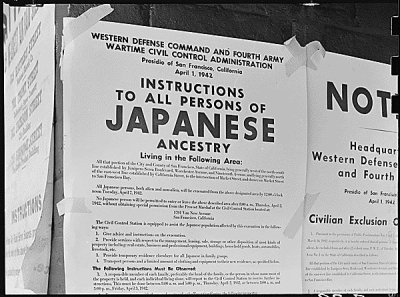 Photograph of internment flyers