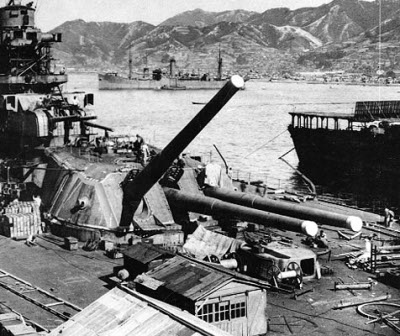 "Photograph of Japanese 18""/45 gun on battleship         Yamato"