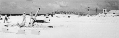 "Photograph of 3"" antiaircraft battery at Johnston Island"