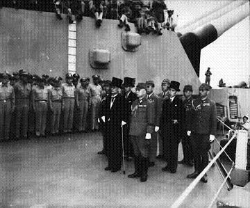 Photograph of Japanese surrender delegation